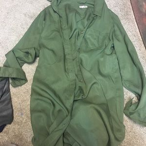 Olive green button up duster